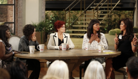 "The ladies of ""The Talk"" on Sept. 11 (from left): Sheryl Underwood, Sara Gilbert, Sharon Osbourne, Aisha Tyler and Julie Chen. (Photo by Lisette M. Azar/CBS)"