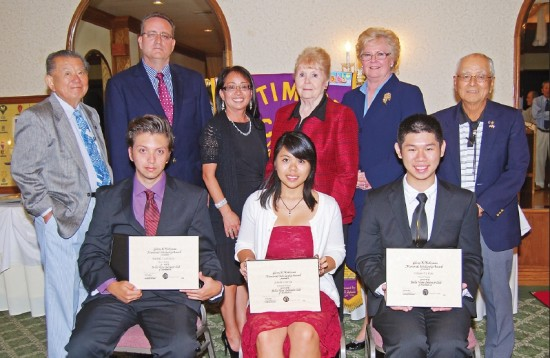 Seated, from left: Rafael Cubillo, Jr., Jeanie Garcia and Hsien-Te Kao. Standing: Doug Murakami, scholarship committee member; Mike Hensley, scholarship committee member; Lynn Hensley, scholarship committee member; Elizabeth Smith, third-place scholarship donor; Ilene Bezjian, third-place scholarship donor; Mitch Sakado, Bella Vista Optimist Club president. (Photo by Ken Hosozawa)