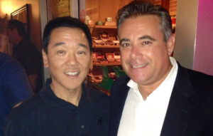 Paul Tanaka at a meet-and-greet at Havana House in Whittier with owner Al Campano.