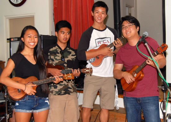 From left, Andie Kotani, Kyle Kotani, Brannon Yamaguchi and Jason Arimoto play on their ukuleles at the third annual Ukulele Jam at Keiro on Sept. 15.