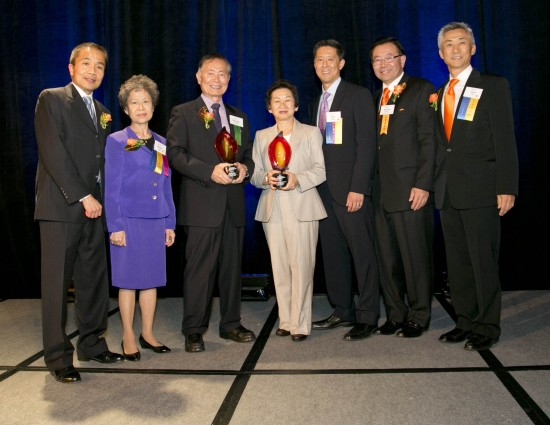 From left: Eugene Eng, 2013 dinner chair; Marie Tan, dinner co-chair; George Takei, Public Image Award recipient; Sue Van, president of the Wallace H. Coulter Foundation; Paul Chan, legal co-chair of dinner committee; Stewart Kwoh, AAAJ-LA president and executive director; John Lim AAAJ-LA board chair. (Photo by Shane Sato/Courtesy of Asian Americans Advancing Justice – LA)
