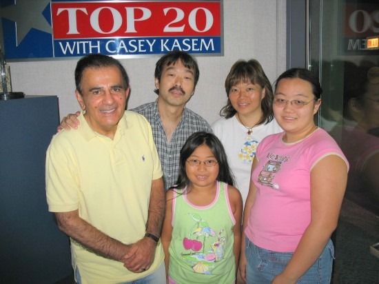 In the Premiere Radio Networks recording studio with Casey Kasem, July 12, 2006. Clockwise:  Guy Aoki, Tammy Antonio, Brandi and Nicole Antonio.