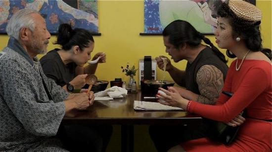 "Hiroshi Kashiwagi and Wendy Woo play unseen spirits in ""Infinity & Chashu Ramen."""