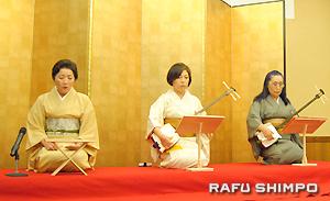 「松の緑」を披露する長唄「みのり会」のメンバー