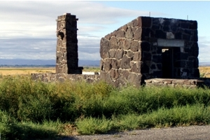 Minidoka camp entrance ruins in Idaho. (National Park Service)