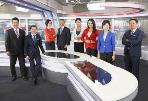 "The anchor team of NHK'S Newsline,"" from left: Ross Mihara, Raja Pradhan, Ai Uchida, Ron Madison, Sherry Ahn, Catherine Kobayashi, Yuko Aotani and Gene Otani. (Courtesy KCET/NHK)"