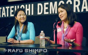 Anabel, left, looks on as her sister, Isabel Stenzel Byrnes, speaks during a 2012 discussion of their documentary in Little Tokyo. (MIKEY HIRANO CULROSS/Rafu Shimpo)