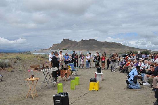 During the 2012 Tule Lake Pilgrimage, a memorial service was held at the site of the camp cemetery. (Photo by Kiyoshi Ina)