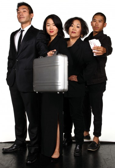 "From left: Nelson Lee, Jackie Chung, Emily Kuroda and Lawrence Kao star in South Coast Repertory's 2013 world premiere production of ""Fast Company"" by Carla Ching. (Photo by Debora Robinson/SCR)"