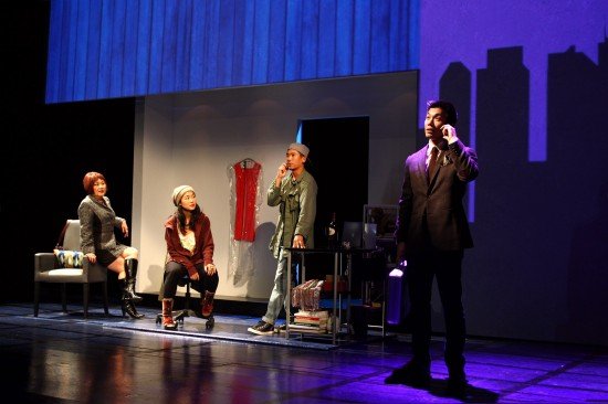 """Emily Kuroda, Jackie Chung, Lawrence Kao and Nelson Lee in a scene from South Coast Repertory's production of Cala Ching's """"Fast Company."""" (Photo by Debora Robinson/SCR)"""