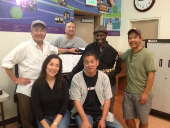Standing, from left: Director Darrell Kunitomi, playwright Soji Kashiwagi, Leslie A. Jones, Kurt Kuniyoshi. Seated: Keiko Kawashima, Scott Nagatani.