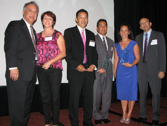 From left: Gene Kanamori,  event co-chair; representing the Dale M. Inouye Foundation, Shannon Kitani (for Harvey Kitani), Randy Kiehm, Scott Mibu and Cathie Tani; A3M Director Shin Ito.