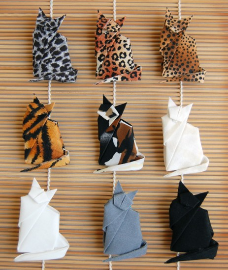 Feline lovers will purr over origami cat pins. (Courtesy of Wendy's Origami)