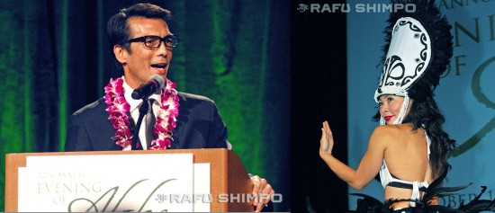 Left: Emcee David Ono of ABC7 Eyewitness News. Right: Junko Tadaka of Polynesian Paradise Dancers.
