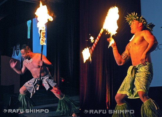 Alika Soriano and Ikaika Villapania of the Polynesian Paradise Dancers.