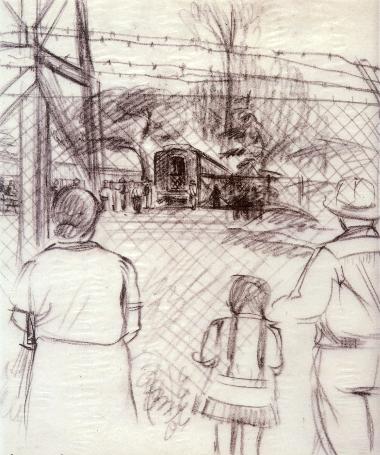 One of Riyo Sato's sketches of Santa Anita Assembly Center. (Courtesy of Pam Hashimoto)