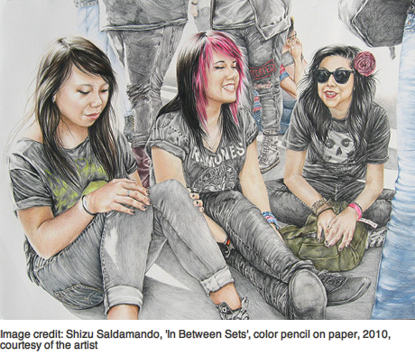 "Shizu Saldamando's ""In Between Sets,"" color pencil on paper, 2010. Courtesy of the artist."