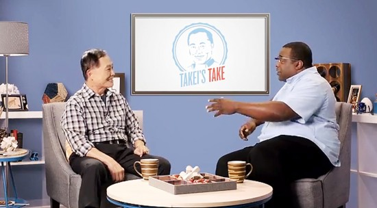 "George Takei chats with Internet personality Lamarr Wilson on ""Takei's Take."""
