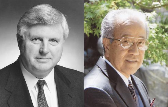 旭日中綬章を授与されるレイ・トーマス・デッカー氏(写真左)と旭日双光章を受章する中村達司氏(同左)