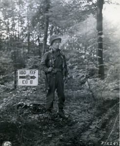 Photograph of a Nisei soldier of Company B, 100th Infantry Battalion. This photograph was taken during the campaign for the rescue of the Lost Battalion in the Vosges mountains in October 1944. Image credit: National Archives