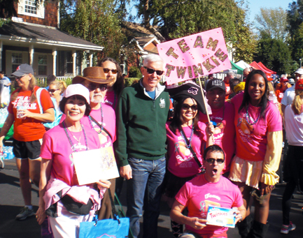 Diane Akutagawa, third from right, with Team Twinkie, and NBC's Fritz Coleman, who emceed this year's NF Walk on Oct. 20. (Courtesy of Diane Kimi Akutagawa)