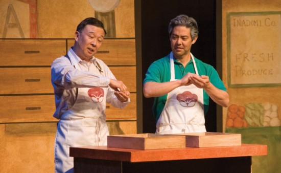 "Ojiisan (Merv Maruyama) and Alan (Kurt Kuniyoshi) make manju in a scene from ""Nihonmachi: The Place to Be."""