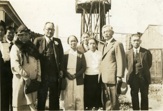 Standing in front of Sakai watertower, May 20th, 1937.  From left: unidentified, Jun Agari (Son of Sakai's oldest daughter Chizuru and Yoichi Agari.  Jun was raised by the Sakais after his mother died.), unidentified, unidentified, Chu Sakai, Kotaro Sakai, Riu Oishi, Tokutaro Oishi, Seizo Oishi, pre-war