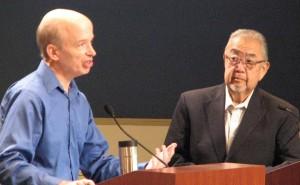 Huntington Beach Planning Commission Chairman Mark Bixby and former Assemblymember Warren Furutani.