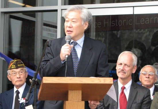 Consul General Masato Watanabe speaks. Behind him are (from left) Chaplain Omar Doi, Craig Middleton and Lawson Sakai.