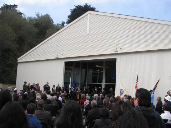 A crowd gathered for the official opening of the MIS Historic Learning Center, former home of the MIS Language School.