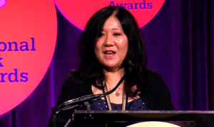 Cynthia Kadohata gives her acceptance speech at the American Book Awards ceremony.