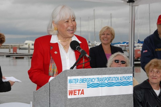 Karyl Matsumoto, then mayor of South San Francisco, speaks at the groundbreaking for the terminal on Oct. 2009.
