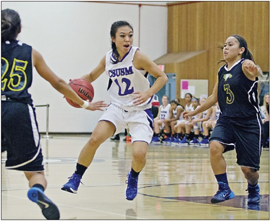 Lindsay Uyematsu scored 22 for San Marcos in Thursday's win over La Sierra. (Jessamyn Trout/CSU San Marcos Sports Information)