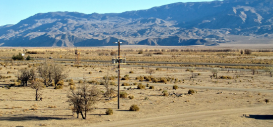 A National Park Service photo shows the view looking eastward from Manzanar National Historic Site.