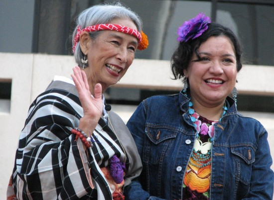 Nobuko Miyamoto, artistic director of Great Leap, and Martha Gonzalez, lead singer of Quetzal.