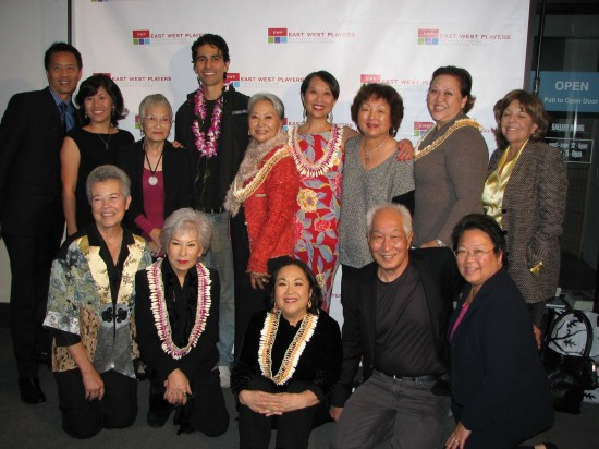 """Pictured at opening night for """"The Nisei Widows Club: How Tomi Got Her Groove Back"""" on Nov. 13 are (back row, from left) Tim Dang, co-writer and EWP artistic director; Denise Iketani, co-writer; Nancee Taye Iketani; cast members Tui Asau, Takayo Fischer and Jeanne Sakata; Irene Sanaye Furukawa; director Amy Hill; Katie Hirning of AARP, which is co-presenting the play; (front row, from left) Donna Kimura; cast members June Kyoku Lu and Emily Kuroda; Michael Yama of """"Betty White's Off Their Rockers""""; Daphne Kwok of AARP. Nancee Iketani, Furukawa, Kimura and Yama appeared with Fischer, Sakata, Lu and Kuroda in the original """"Nisei Widows Club"""" in 2003. (J.K. YAMAMOTO/Rafu Shimpo)"""