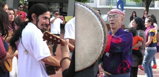 "Guest musicians Luis Sarmiento on jarana and George Abe on taiko. Songs included ""Bon Odori Uta"" and ""Siqui Siri."""