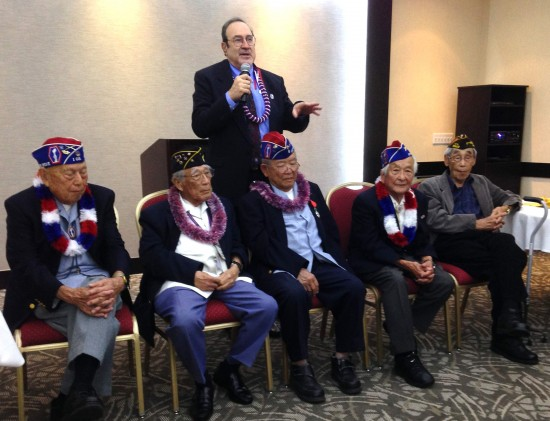 Eric Saul standing behind, from left, Shig Doi, Hitoshi Sameshima, Don Seki, Susumu Ito and Jack Kunitomi.