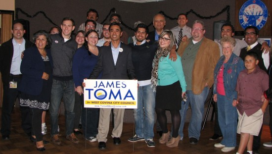 James Toma and his supporters celebrated on election night at the West Covina Elks Lodge.