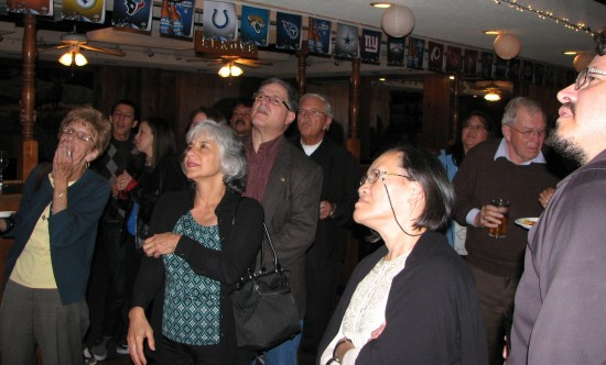James Toma's supporters look at L.A. County election results.