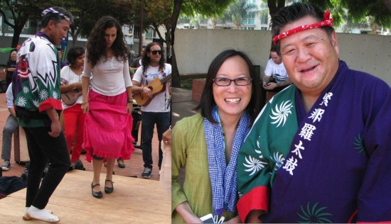 Left: Hiroshima drummer Danny Yamamoto tries a new dance step. Right: JACCC CEO Leslie Ito and Johnny Mori of Kinnara Taiko.