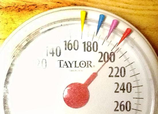 体重計に毎日乗ってモニターした。写真はダイエットを開始した昨年4月24日撮影し、目盛りは205ポンドを指している。半年後、目標の170ポンドを下回った