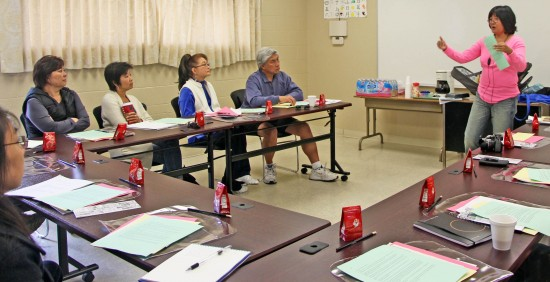 "JA Living Legacy's Sue Uyemura conducts oral history training for the ""Keepers of the Flame"" project."