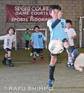 Kai Hirayama of the L.A. Hawks fires a shot on goal during the U7 tournament