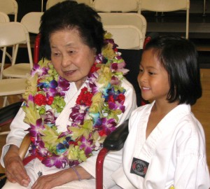 Keiko Fukuda in 2009 at Mills College in Oakland, where a martial arts exhibition was held in her honor.