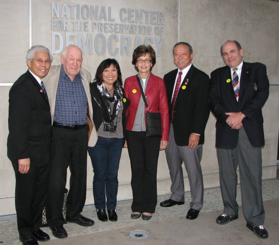 From left: Low Dong, assistant head sensei, Gardena Judo Club; Hal Sharp, technical advisor, Gardena Judo Club; filmmaker Yuriko Gamo Romer; Robin Fernandez of Jundokai Judo and Jujitsu Club in La Mirada; Kenji Osugi, head instructor, Sawtelle Judo Dojo; Gary Goltz, founder, Goltz Judo Club.