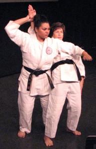 "Charmaine Galvez (left) and Robin Fernandez Jundokai Judo and Jujitsu Club of La Mirada demonstrate Keiko Fukuda's ""Ju no Kata"" forms."