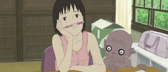 "Momo and a yokai in a scene from Hiroyuki Okiura's ""A Letter to Momo."""