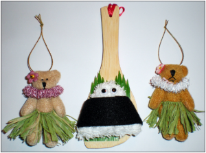 Lisa Fujimoto of Campbell creates fanciful musubi holiday ornaments on hanging shamoji.(Courtesy of Chickie Babies Crafts)