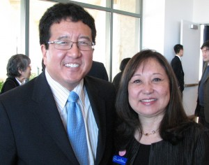 Menlo Park Mayor Peter Ohtaki and former La Palma Mayor Charlene Hatakeyama.